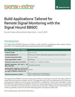 signal hound app note about remote monitoring