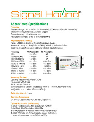 SA44B Spectrum Analyzer Datasheet from Signal Hound