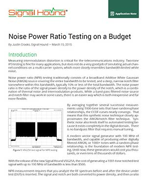 Noise Power Ratio Testing on a Budget App Note