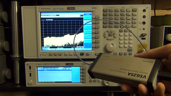 VSG25A signal characterized by the Keysight EXA