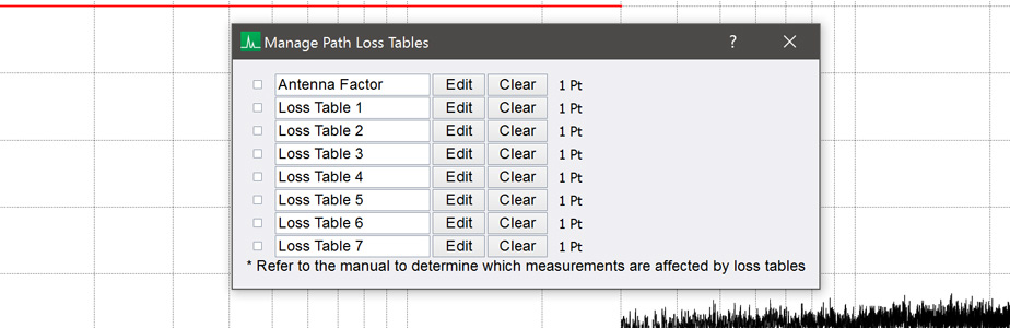 New Path Loss Tables dialogue in Spike spectrum analyzer software