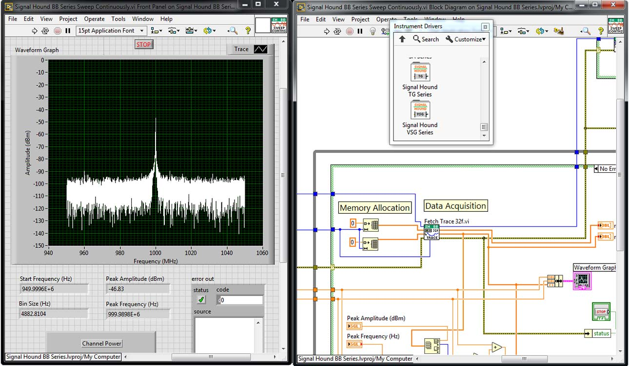 labview instrument drivers for signal hound