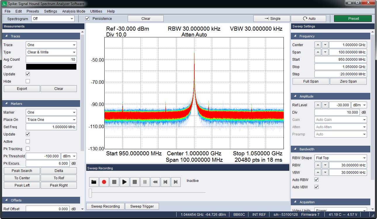 signal hound spike software for spectrum analysis