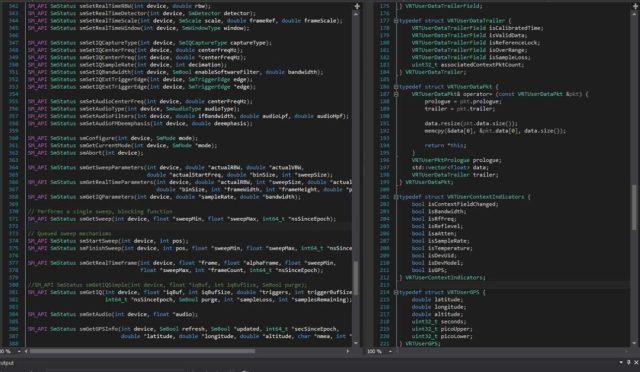 A screenshot of Signal Hound's SDK code