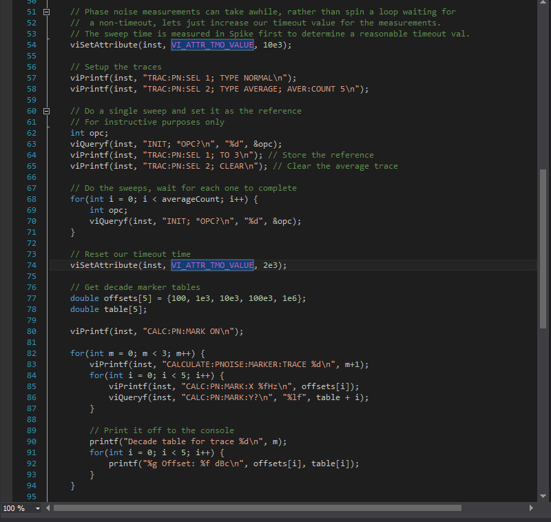 SCPI code running in an IDE