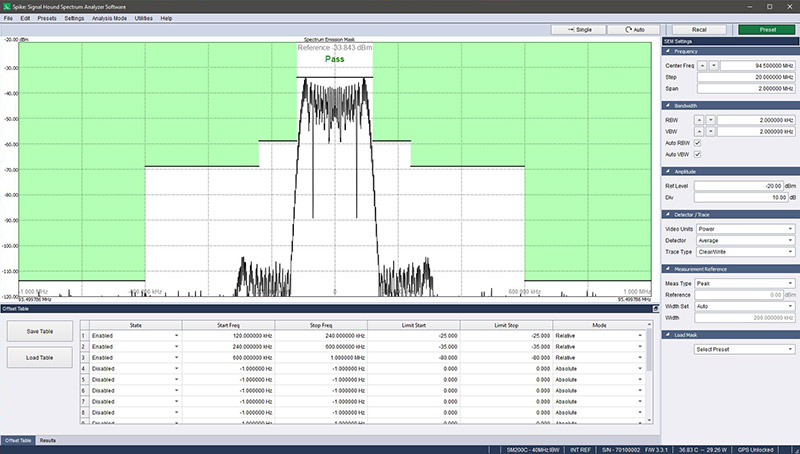 spectrum analyzer software for our tracking generator