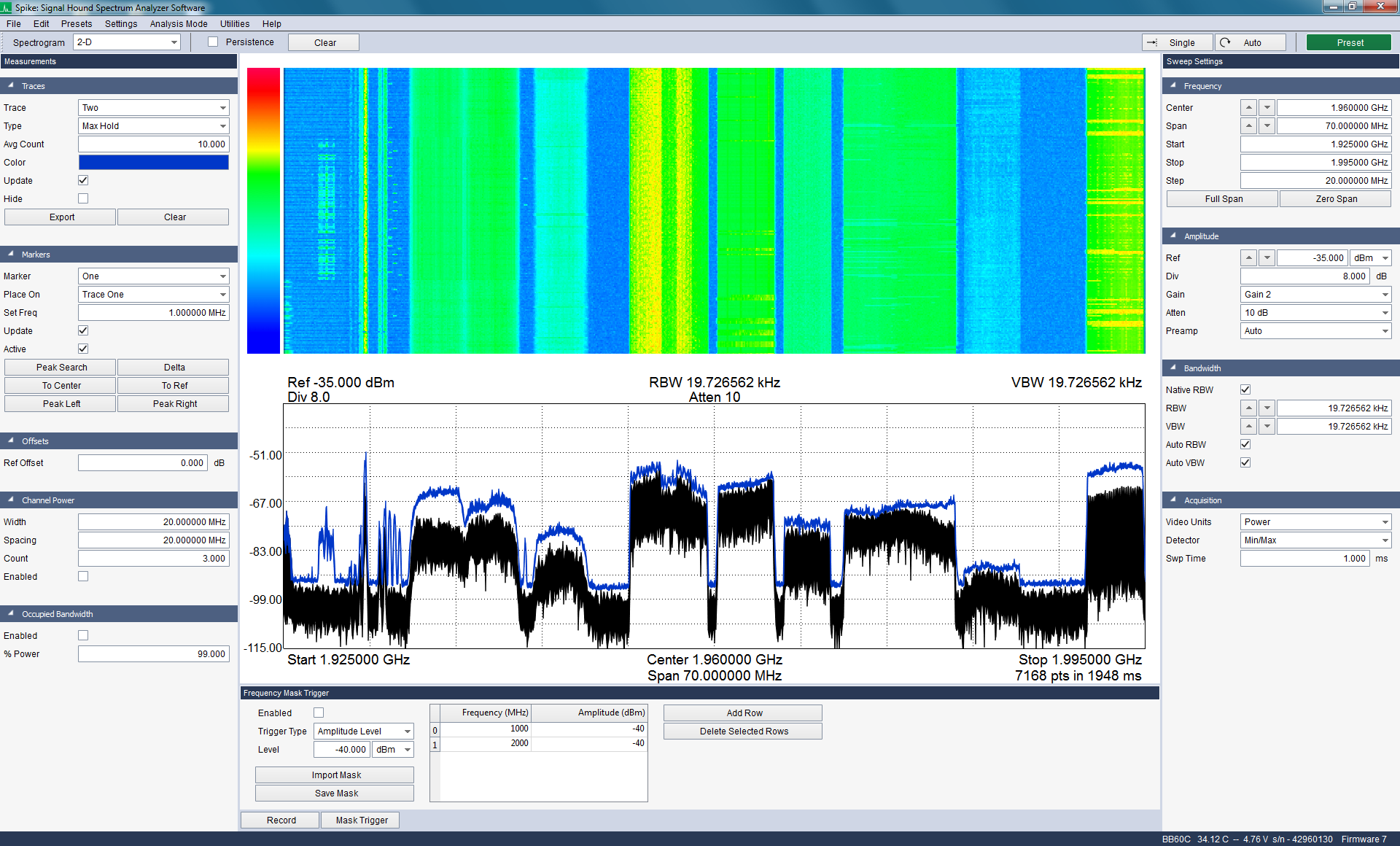 Monitoring a number of cellular frequency bands